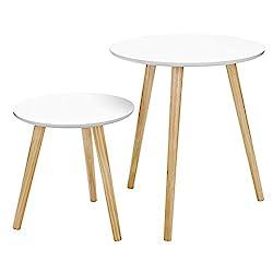 SONGMICS 2er-Set Beistelltisch, weißer Wohnzimmertisch, Runder Seitentisch, skandinavische Couchtische, Holz, Natur LET07WN, Groß(45x45x50cm),Klein(35x35x35cm)