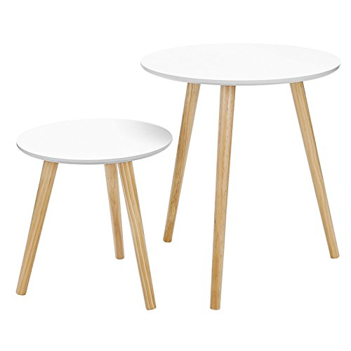 SONGMICS Lot de 2 Tables Basses Table Ronde pour cafétéria Table de Chevet Style scandinave Moderne Minimaliste Salon Chambre Couleur Blanche LET07WN