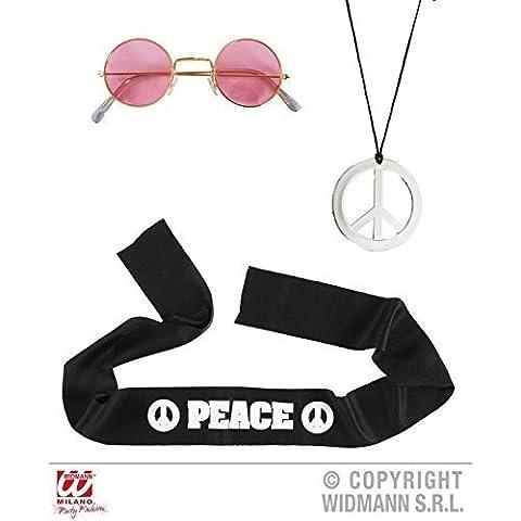 Hippie Set / Accessoires de costume avec Lunettes, Bandeau et Collier Paix
