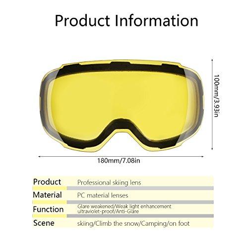 eDriveTech Maschera da Sci, Occhiali Maschera Sci Snowboard Neve Specchio per Uomo Donna Adulto Ragazzo Ragazza Antinebbia Antivento Occhiale Maschere da Sci Anti-UV OTG Magnetica Sferica Lente  Img 2 Zoom