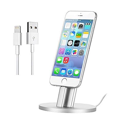 GHB Station d'Accueil pour Iphone 6 6s 6Plus 6splus 5s 5 Station d'Accueil Lightning pour Ipad Plus Stable avec le support de dossier et le câble de charge