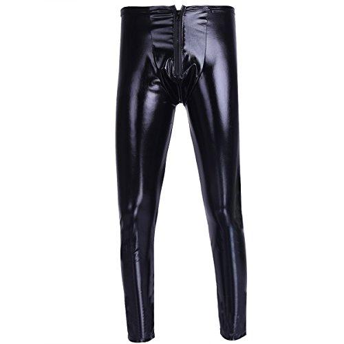YiZYiF Männer Herren Hosen Leggings Leggins lange Unterhose Longjohns WetLook Lederhose Pants Clubwear Kostüm mit Reißverschluss Schwarz M