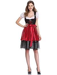 KOJOOIN Damen Midi Dirndl Trachtenkleid Kurz mit Stickerei Exklusives Designer für Oktoberfest - DREI Teilig: Kleid, Bluse,Schürze
