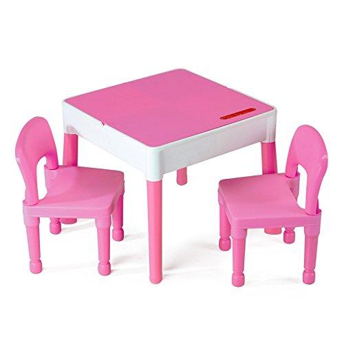 Meubles Enfant Rose 1 Table + 2 chaises Liberty Building Tega House Multi activités idée Cadeau (Rose)
