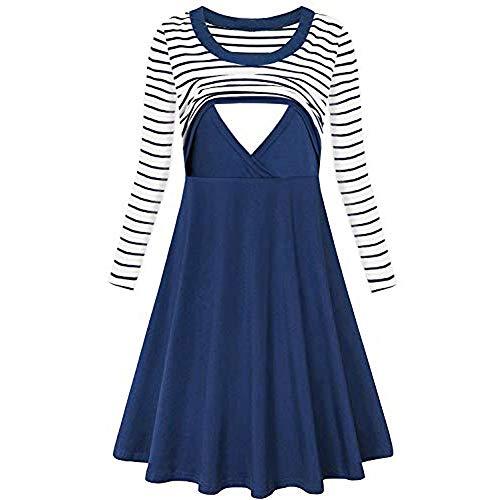 Amphia - Gestreiftes Kostüm der Frauen - Umstandskleid - Damen Streifen Langarm Flare Still-Stillkleid Stillen(Blau,M)