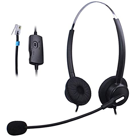 Wantek Binaural Call Center Telephone Headset Headphone with Mic and Volume Mute Control for Cisco Unified IP Phones 7931G 7940G 7941G 7942G and Plantronics M10 MX10 Vista Modular Adapters(H120B02B)