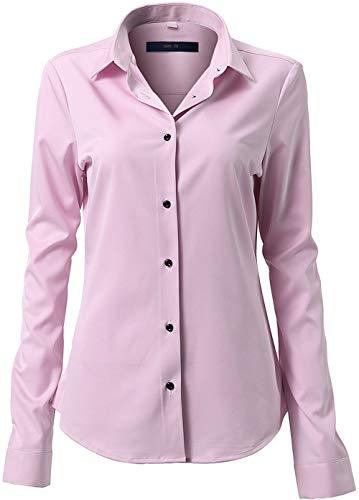FLY HAWK Damen Hemd Bluse Basic Bambusfaser Hemdbluse Slim Fit Arbeitshemden Langarm Stretch Hemden Freizeit Business Elegant Hemd Größe 34 bis 52 -