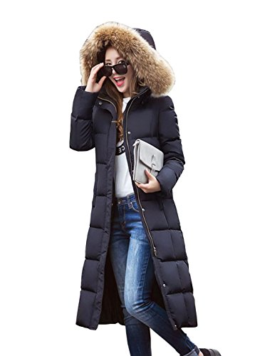 E Support™ Damen Lange Daunenjacke Winterjacke Wintermantel Mantel Jacke mit Pelz kragen mit Kapuze Winter S-XXL