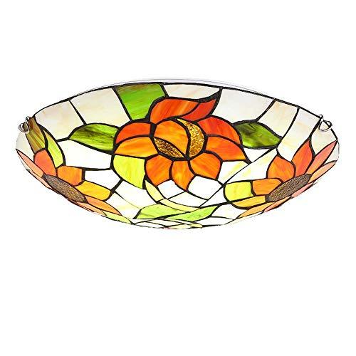 ACTW Tiffany Style Deckenleuchte Kreative Glasmalerei/Sun Flower Design Deckenleuchte, Schlafzimmer Esszimmer Balkon Gang Dekorative Anhänger Deckenleuchten, E27, (12/16/20 Zoll verfügbar) (Stil Anhänger Art Nouveau Beleuchtung)
