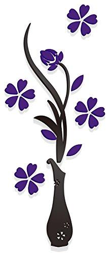 Tankerstreet 3D decorazioni murali vaso da parete 3D DIY vaso albero fiore di cristallo acrilico adesivi da parete per camera da letto, soggiorno cucina (45,7x 119,4cm), viola