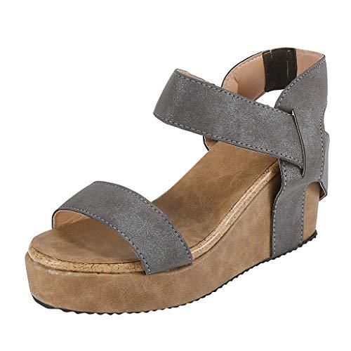 Sandalias Mujer Verano, Btruely Mujeres Sandalias de Punta Abierta Sandalias de Playa Transpirable Roma Banda Zapatos elástica cuñas Casuales 2019