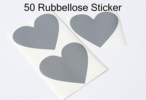 Happy Wedding Art 50 Rubbel-Sticker Silber Herz Rubbellose Rubbelsticker Rubbeletiketten selbst gestalten 8x7cm Einladungen Hochzeit