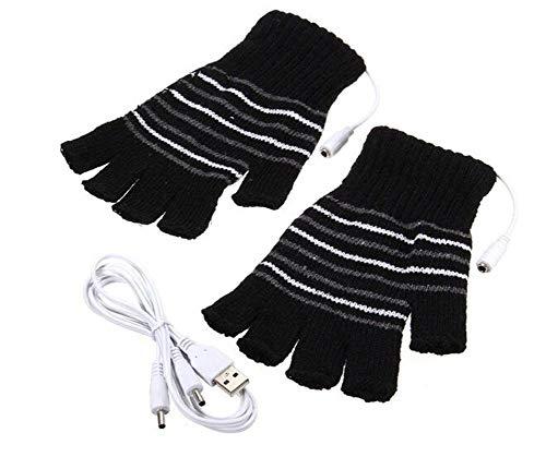VASANA 1 Paar schwarz Unisex USB Powered Streifen Muster Strickwolle Heizung Handschuhe fingerlos Handwärmer Fäustlinge Laptop Computer Handschuhe