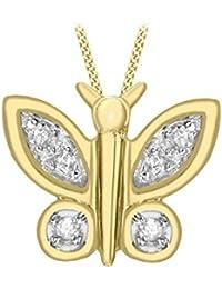 Carissima 9 Karat 375er Gelbgold  0.05 Karat Diamant Schmetterling Anhänger m. Kette 46cm1.43.2384