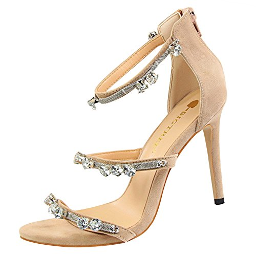 Oasap Women's Metal Chain Rhinestone Open Toe Stiletto Heels Sandals Apricot