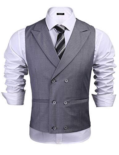 Coofandy Herren Weste Slim Fit Einreiher/Zweireiher mit 17 Knöpfen Gilet Business Casual Klassisch Basic Männer Anzugweste für Herren