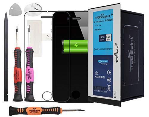 Trop Saint® Akku für iPhone 4-1420mAh/3,8V Komplettes Reparaturset kompatibel mit iPhone Ersatz akku mit Werkzeug, Sticker und Panzerglas