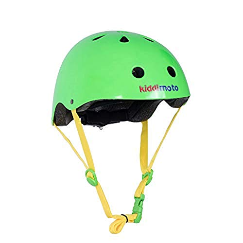 KIDDIMOTO Kinder KMH035M Fahrrad Helm Neon Grün, Gr. M 5-14 Jahre, Neongreen, 53-58 cm