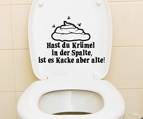WC Deckel Aufkleber 25x18cm Krümel Bad Toiletten Tattoo Badezimmer Sticker 1K210, Farbe:Schwarz Matt