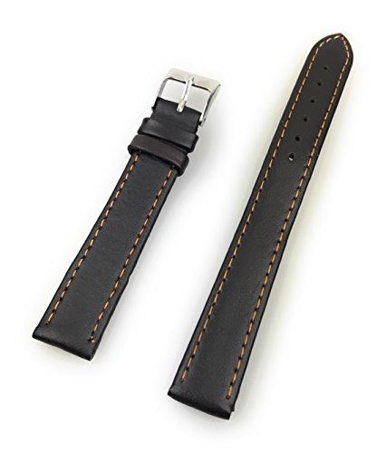 Uhrenarmband aus echtem Leder 16 mm Braun Glatt - 16mm Uhren Armband