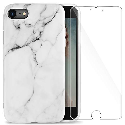 AROYI iPhone 7 / iPhone 8 Hülle + Panzerglas, Ultra Dünn Matt Weiß Marmor Weich Silikon TPU Handyhülle Stein Marble Flexible Schutzhülle Handytasche Cover für iPhone 7 / iPhone 8