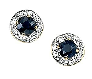 Stud Earrings With Round Sapphire And Pave Diamonds in 9 Carat Yellow Gold