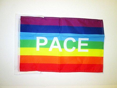 Az flag bandiera arcobaleno pace 45x30cm - bandierina pace - rainbow flag 30 x 45 cm cordicelle