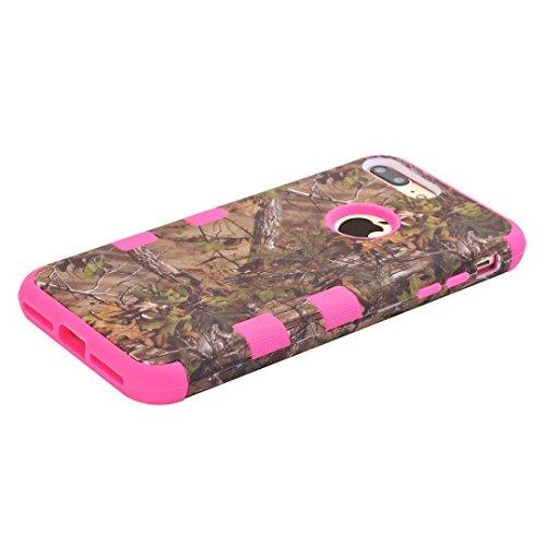 """iPhone 7 Plus Coque,Lantier Camouflage Forest Design Résistance à la chute Résistance à la baisse 3 en 1 Combo Hard Housse de protection en plastique pour iPhone 7 Plus 5.5"""" Violet Green Tree Hot Pink"""