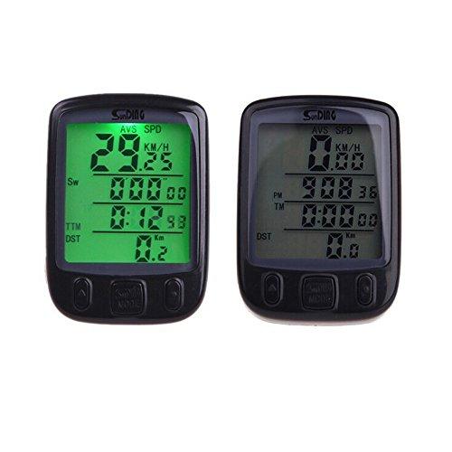 QHJ Fahrrad Zubehör Digitaler Tacho Kilometerzähler LCD Wasserdichtes Fahrrad Fahrrad Computer Geschwindigkeit (Schwarz)