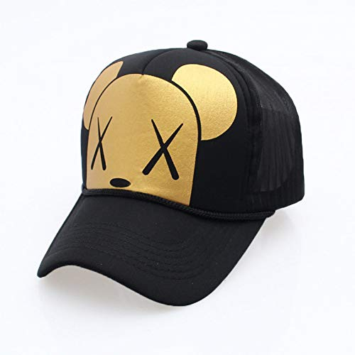 YPORE Women's Cartoon Adjustable Strap Mesh Back Panel Trucker Baseball Cap Black Gold White - Back Adjustable Trucker Hut