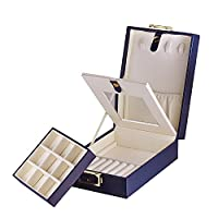 Navy Blue Laminated Leather Double Layer Travel Jewellery Storage Case Box w/ Lock Mirror, Women Jewellery Valentine Day Anniversary Wedding
