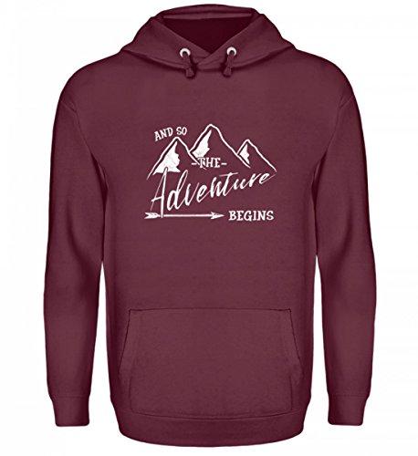 Shirtee Hochwertiger Unisex Kapuzenpullover Hoodie - Das Abenteuer Beginnt - Für Alle Bergwanderer, Wandersleute, Abenteurer und Reisende (Alpine Pfeil)