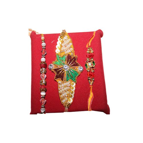 handicrunch-multicolor-kandla-designed-rakhi-set-of-3-with-haldirams-rasgulla