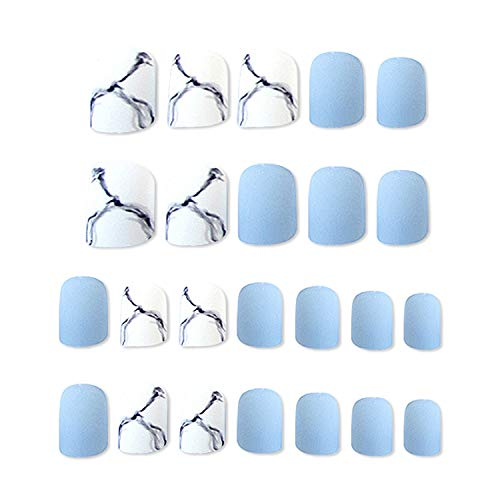 Künstliche Nägel + 2 g Kleber Zehennägel, Marmor, Acryl, lange Fake Tips, Nail Art Zubehör, China 03 -