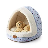 Tofern Colorful Dots Patterns Striped Cute Pet Fleece Bed Puppy Small Medium Dog Cat Sleeping Igloo House Non-Slip Warm Washable, Blue Dots