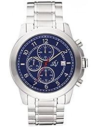 Reloj hombre Louis Villiers reloj 47 mm de acero azul y pulsera plateado acero LV1013