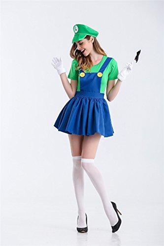 ralls Super Klempner Bros Cosplay Kostüm Halloween Verrücktes Kleid Kleidung mit Hut Bart Handschuhe (Super Mario Halloween-spiel)
