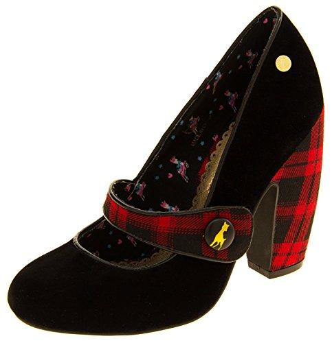 Donna Babycham finto camoscio nero e rosso scozzese mary jane tacchi Nero e rosso