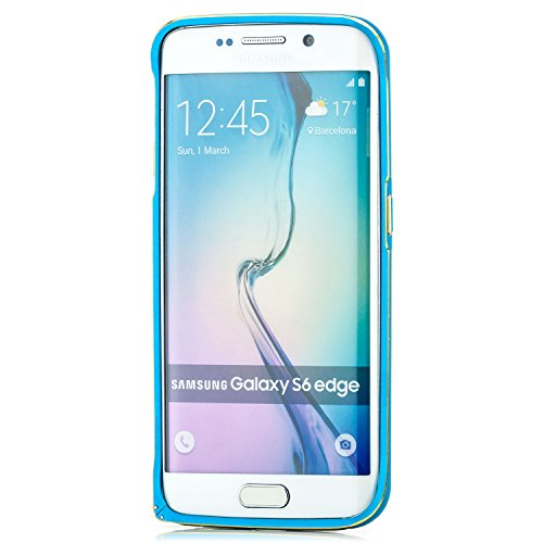 Coque iPhone 6 / 6S, Saxonia Case Housse Etui Bumper Cover Ultra Mince Aluminium avec bord Or - Noir Bleu