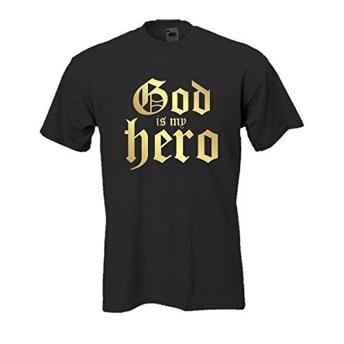 God is my hero, edel bedrucktes T-Shirt mit religiösem christlichen Spruch, Gott ist mein Held, tolles Geschenk Funshirt große Größen (FSJ030) 5XL