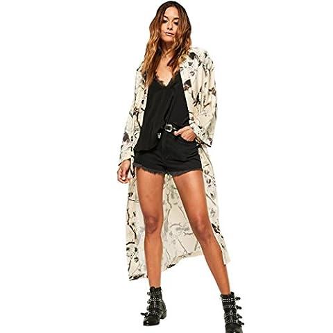 Femme Cardigan, Feixiang exclusif customisation confortable NEUF Femme Mode d'été en mousseline de soie Kimono Cardigan Châle Taille plus chemisiers, plastique, S