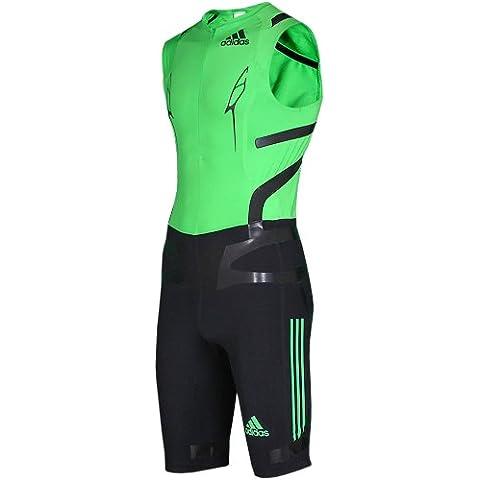 Adidas Adizero Powerweb - Completo da corsa senza maniche, 1 pezzo, verde / nero