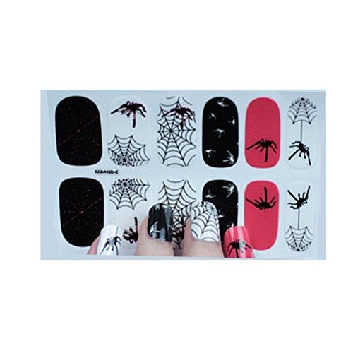 Lurrose Nagel Kunst Aufkleber Wasserdicht Nail art Tipps Halloween Selbstklebende Nial Spitze Aufkleber Dekoration Temporäre Maniküre für Frauen Mädchen Kinder (Y5242)