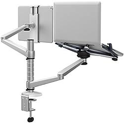 Ajustable Soporte de Monitor de Soporte de Escritorio Abrazadera de Soporte de Doble Brazo Giratorio de inclinación de Aluminio Universal para portátiles y Ordenadores Laptop & Tablet