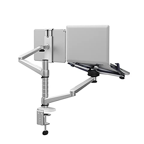 Adjustable Aluminium Universal Laptop Notebook & Tablet Stand Desk Mount Bracket Clamp Tilt Swivel Dual Arm Support Holder (Laptop &