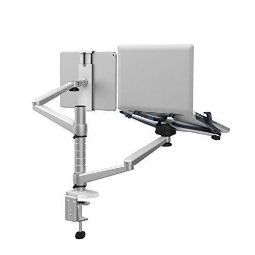 Réglable en Aluminium Multi-fonction pour bureau/ordinateur portable/tablette Support double bras pivotant de Support pour Support de fixation - 10 \\