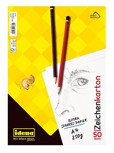 Idena 10384 Zeichenkarton, 50 Bogen, DIN A4, 250 g/m², FSC-Mix