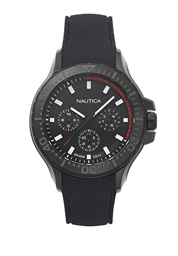 Nautica Men's 'AUCKLAND' Quartz Stainless Steel and Silicone Casual Watch, Color:Black (Model: NAPAUC004)