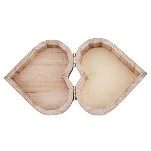 Busirde Herzform Storager Box Schmuck Hochzeit Geschenk-Verfassungs-Kosmetik-Ohrringe Ring Schreibtisch Rangement Make Up aus Holz Organizer -