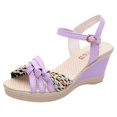 Btruely Damen Sandalen Sommer Mode Hochhackige Schuhe Damen Fesselriemen Schuhe High Heels Sandalen Ferse Schnalle High Heels Schuhe Mädchen Knöchel Schuhe Plattform Zehesandalen (37, Lila) (Knöchel-espadrille)